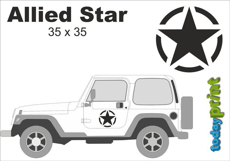 Allied Star Tür Aufkleber Jeep Wrangler Willys Hummer US