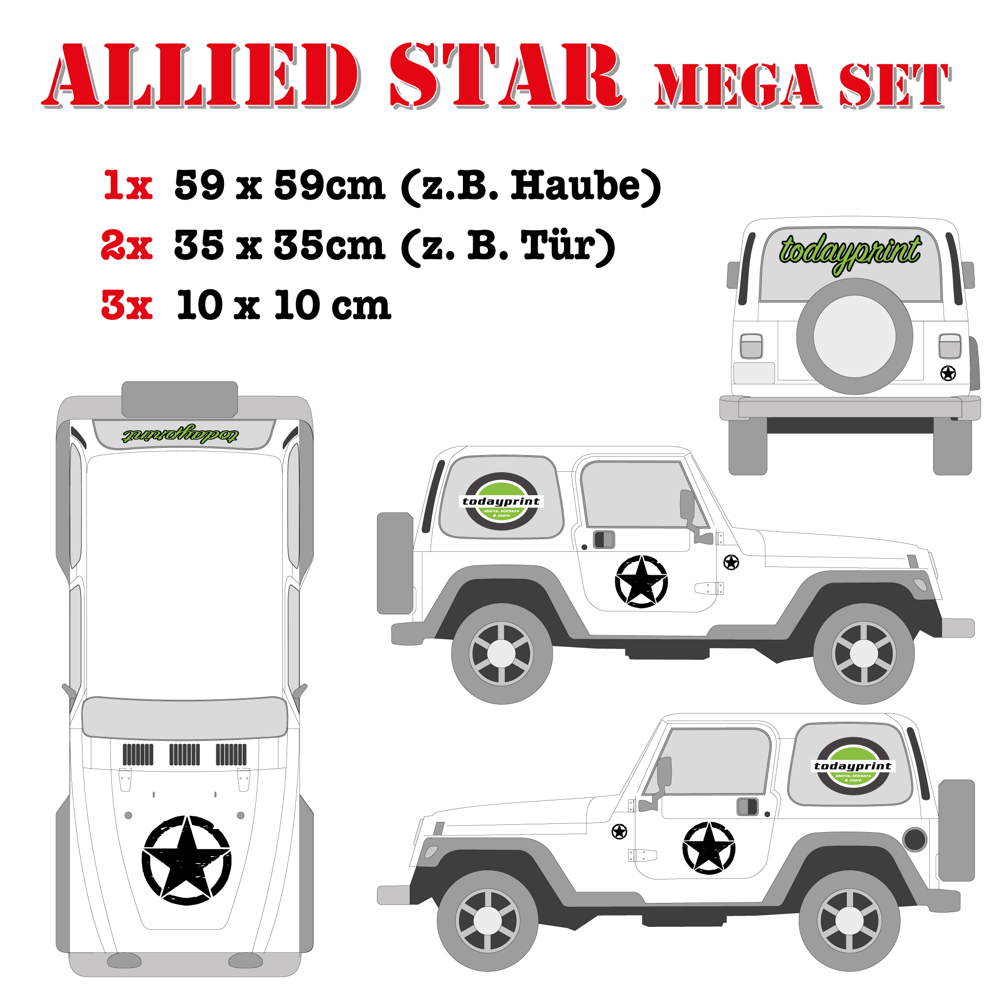 Allied Star Mega Set Tür Haube Jeep Wrangler Willys US Aufkleber