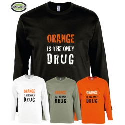 Langarm Shirt - ORANGE IS THE ONLY DRUG