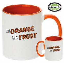 In Orange we trust - für alle Adventure, Enduro, Supermoto, Ktm Fans Motiv Tasse 0,3L