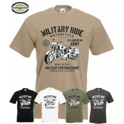 T Shirt MILITARY RIDE MOTORCYCLE, US ARMY, Custom, HD, Vintage, Allied