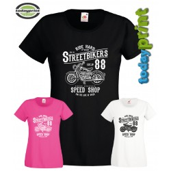 Girlie Shirt Streetbikers, Cafe Racer, Biker, Old School Vintage Motorcycle Scrampler